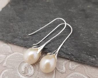 Genuine 925 Sterling Silver Dangle Unique Snowdrop Pearl Drop Hook Earrings