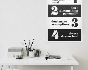 The four agreements etsy the four agreements typography art print don miguel ruiz inspirational print platinumwayz