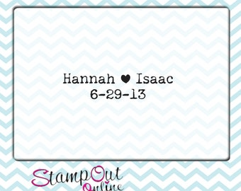 Clear Block typewriter font custom name and date rubber stamp monogram logo rubber stamp --5695