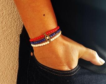 FAST SHIPPING/USA beaded bangle, 4th of July Beaded Bangle, Patriotic Bracelet, 4th of July bracelet,