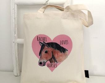 Loves Horses   Personalised Bag   Horse Lover Gift   Horse Bag   Gift For Horse Lover   Horse Gifts