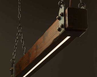 Timber Beam LED Pendant Light No.1 - Industrial Wood Pendant - Wooden Ceiling Chandelier