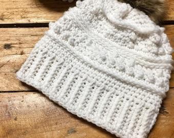 Crochet white hat