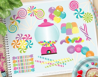 Candyland Clipart, Candies, Sweets, candy shop, gum balls, jellybeans, candy cane, lollipop, Commercial use, Vector Clip Art, SVG Cut files