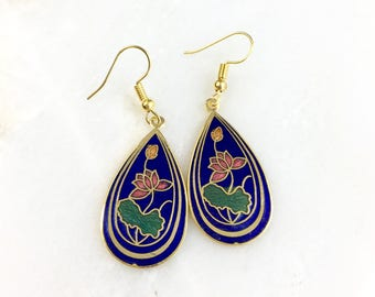 Vintage Cloisonne Chinese Floral Earrings