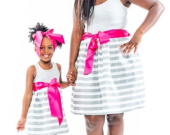 SALE Gray Striped Mother Daughter Dresses. Mother Daughter Matching Dresses. Mommy - N - Me. Mommy & Me. Dresses