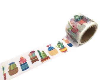Wide washi tape with gold cactus - Masking tape pretty cactus