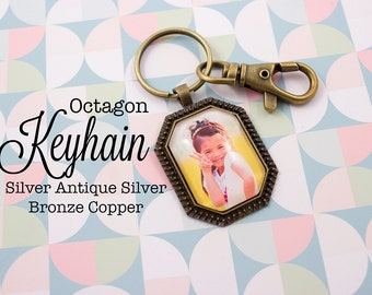 Custom Photo Keychain Octagon 22x30 mm Key chain Personalized Gift in Silver, Antique Silver, Antique Bronze and Antique Copper
