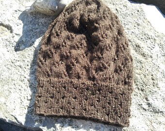 Ladies' Wool Slouch Hat, Teen Slouch Hat, Hand Knit, Lightweight Slouch, Eyelet Lace Hat, Wool, Mohair, Acrylic, Sequin Wool Hat, Unique Hat