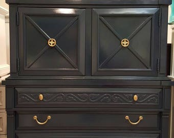 Navy Blue Dresser with Gold hardware armoire Glossy blue dressers