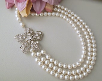 Bridal Pearl Necklace, White Swarovski Pearls, Pearl Rhinestone Necklace,Statement Bridal Necklace,Bridal Rhinestone Necklace,Pearl,GRETCHEN