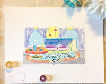"""Watercolor print- """"Family Time"""""""