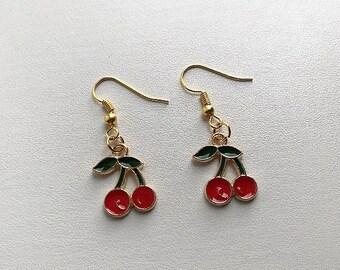Handmade Red Cherry Gold Hook Earrings