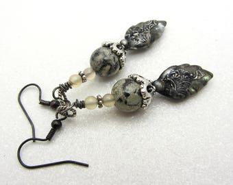 Decorative Tinwork and Gemstone Earrings Boho Earrings Earthtone Colors Dangle Drop Earrings SRAJD Handmade Earrings