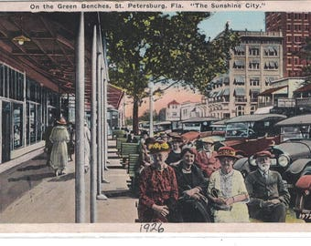 """Florida, Vintage Postcard,  """"On the Green Benches, St. Petersburg, Fla.,""""  1925, #1276."""