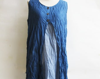 D6, Two Tone Two Layers Sleeveless Blue Cotton Dress