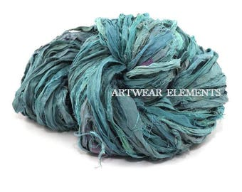 Pure Sari Silk, Vintage Aqua Dream Mix, Per Yard, Recycled Sari Silk, Fair Trade, Textile, Ribbon, Yarn, Silk, Sari, ArtWear Elements, 213