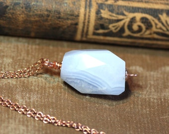 Blue Lace Agate Necklace Rough Nugget Copper Light Blue Gemstone Pendant Luxe Rustic Jewelry