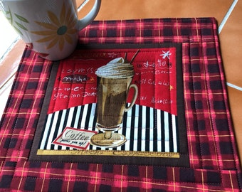 All About Coffee - Mug Rug, quilted coaster, Mocha, Milkshake, coffee lover, red, brown, black and white, whipped cream, latte, frozen drink