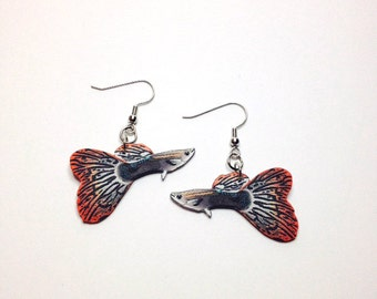 Handcrafted Plastic Tropical Fish Livebearer Guppy Guppies Earrings Jewelry Accessories Fashion Novelty Unique Gift Gifts for Her