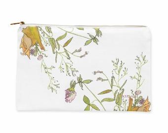 Flower Zipper Bag, Pouch, Carry All Pouch, Zipper Pouch, Travel Zipper Pouch, Floral Pencil Pouch, Makeup Brush Bag, Art Zipper Pouch, Bag