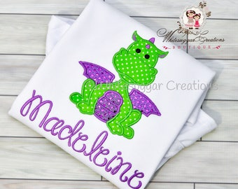 Girl Dragon Applique Shirt - Custom Personalized Dragon Girl Outfit - Dragon Year Baby