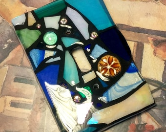 BLUE BEACH Color Mix Glass Mix- Blue/Cream/Aqua - Stained Glass MOSAIC Light Switch Cover -single, double, triple, outlet, or decora gfci