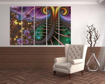 Large colorful fractal wall art, multipanel fractal psychedelic art print, trippy fractal art, canvas fractal, contemporary art