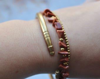 Gold stone Tribal Beaded Macrame Bracelet m20