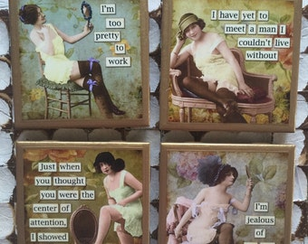 COASTERS!!! Funny vintage ladies coasters with gold trim