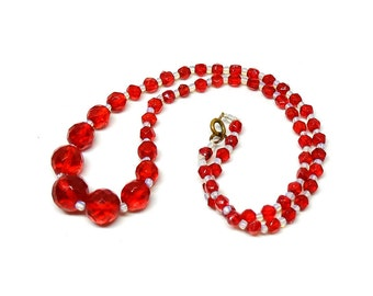 Vintage 1950s Red Necklace | Vintage Beaded Necklace | Beaded Necklace | Statement Necklace | Cherry Red Necklace | 1950s Necklace