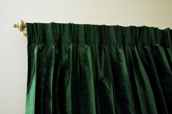 Groen gekleurde zijde gordijnen in Rich ruwe zijde / Dupioni