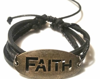 Christian Jewelry Faith Bracelet Leather Religious Gift - B15 SALE Jewelry Flash Sale