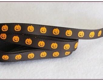 1 meter of Ribbon 10mm orange halloween pumpkin pattern