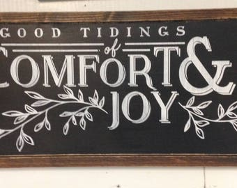 Good tidings of comfort and joy. Magnolia market, fixer upper, Joanna Gaines. Christmas decor. Vintage Christmas. Wood sign.