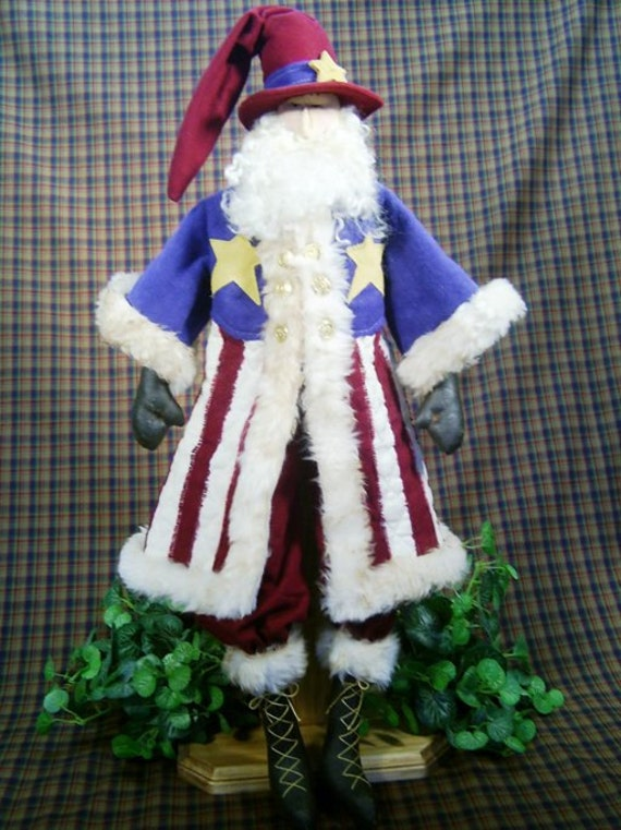 Uncle Santa - Mailed Cloth Doll Pattern 25in Patriotic July 4th Santa