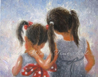 Two Sisters Art Print, two girls, loving sisters, childrens wall art, girls bedroom art, brunette sisters art, gray wall art,Vickie Wade art