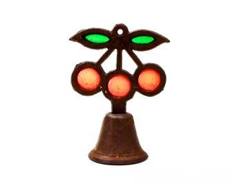 VINTAGE: Rustic Metal light Catcher Cherry Bell - Iron Bell - Fruit Bell - SKU 14-A1-00010664