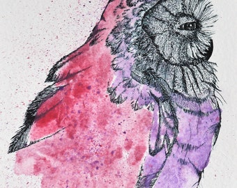 Watercolor Owl, Pen N Ink Owl, ORIGINAL ART, Owl Drawing, Owl Painting, Owl Art, Bird Art, Bird Pen N Ink, Wildlife Art, ORIGINAL Owl Art