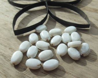 set of 25 beads oval ceramic
