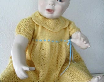Hand Knit Baby Dress Size 12M Pure Wool Yellow Ready to Ship