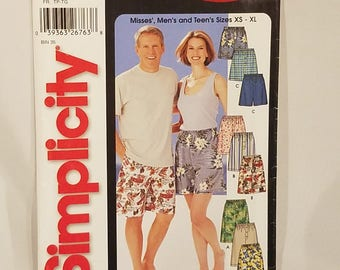 Its So Easy Simplicity 5539 Sewing Pattern Misses Mens or Teens Short in Three Lengths Sizes XS S M L XL