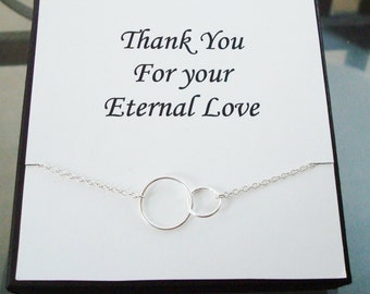Double Circle Infinity Link Sterling Silver Necklace ~~Personalized Jewelry Gift Card for Mom, Friend, Sister, Step Mom, Bridal Party