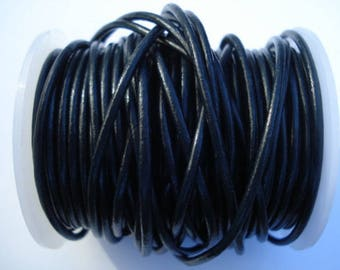 Navy Blue Leather Cord, 2mm Round Leather Cording, 24 Yards Spool, Dark Indigo Blue
