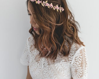 baby pink gold rose, leaf & berry flower crown // pink gold leaf crown / pink gold flower crown / pink gold / christmas gold flower crown