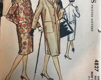 Vintage 50s McCall's 4827 Coat Pattern-Size 14 (34 Bust)
