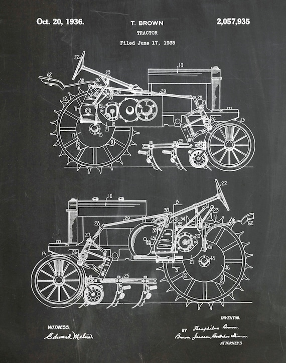 1935 John Deere B Tractor Patent Print Poster Agriculture
