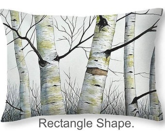 Throw Pillow, Birch Trees in the Forest, size of 14x14 to 26x26 inches Fine Art Painting by Christopher Shellhammer