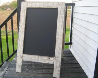 Ready to ship Rustic easel sidewalk chalkboard sandwich chalkboard white weathered reclaimed wedding chalkboard easel A frame double sided