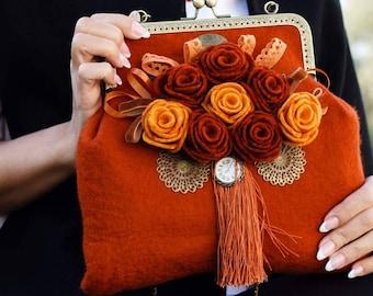 Felt bag Wool felted bag Womens shoulder bag Retro purse Felt brown bag Womens felted purse Wool bag with felted flowers rose